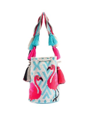 Arte y Tejido, Mochila Flamingo, Chorrera, Mochila, Tejida, Knitted, Crochet, Natural Fibers, Algodón, Cotton, Fibras Naturales, Bag, Flamingo