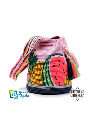 Arte y Tejido, Mochila Frutti, Chorrera, Mochila, Tejida, Knitted, Crochet, Natural Fibers, Algodón, Cotton, Fibras Naturales, Bag, Frutti