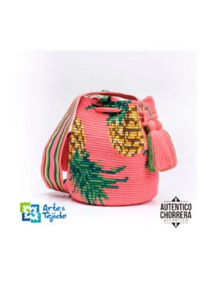 Arte y Tejido, Mochila Piña Colada, Chorrera, Mochila, Tejida, Knitted, Crochet, Natural Fibers, Algodón, Cotton, Fibras Naturales, Bag, Piña Colada