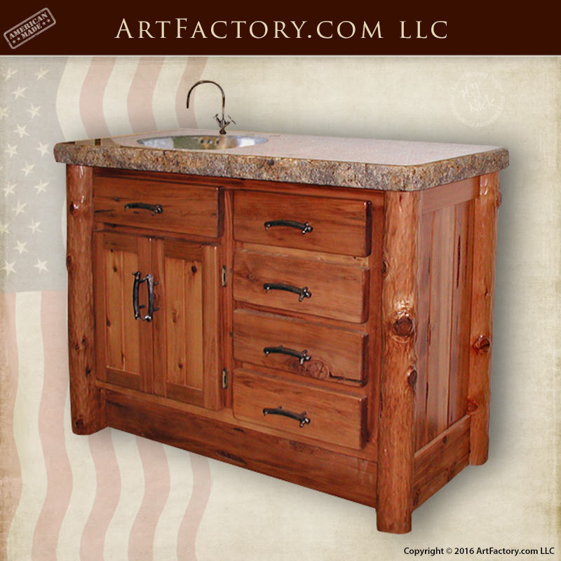Hand Carved Bathroom Vanity - Genuine Granite Countertop