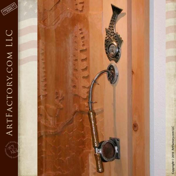 Vintage Fly Fishing Rod Door Pull With Custom Fish Lock Plate