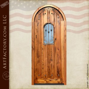 vertical plank arched door