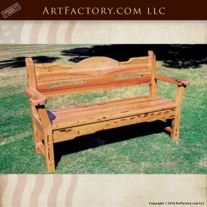 hand carved solid wood bench