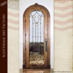 arched door wood iron glass