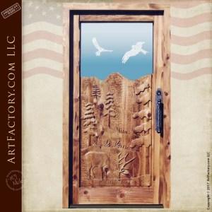 custom wilderness carved door