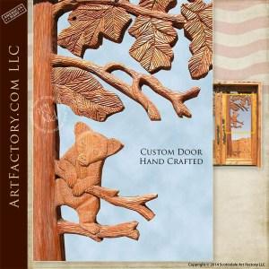 western deer hand carved door