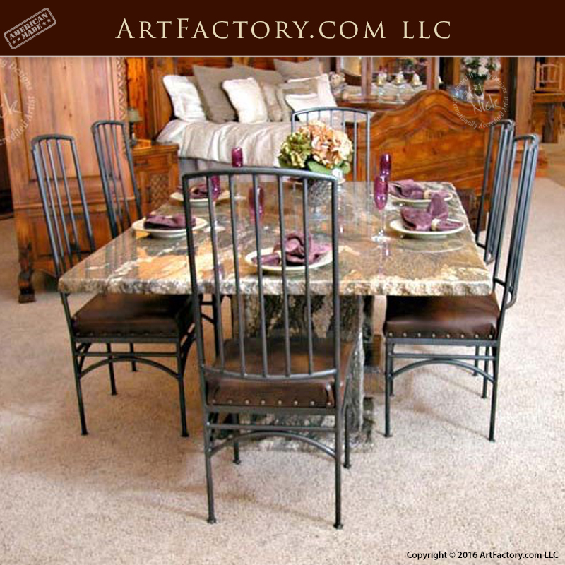Solid Granite Dining Table: With Blacksmith Hand Forged Iron ...