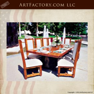 Hand Carved Wooden Dining Table: With Matching High Backed Chairs