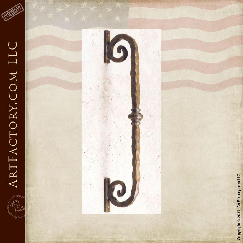 iron scroll bar door pull