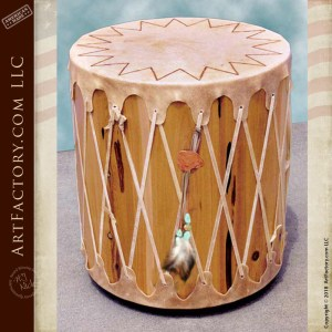 Native American drum end table