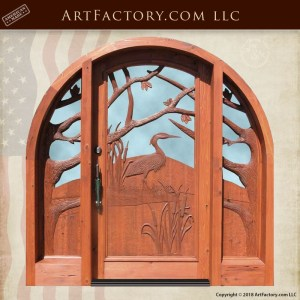 heron hand carved front door