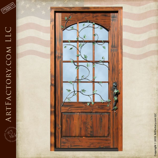 custom French pane glass front door