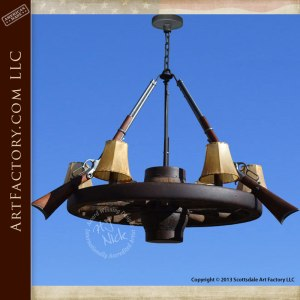 Custom Chandelier Winchester Rifles Antique Wagon Wheel
