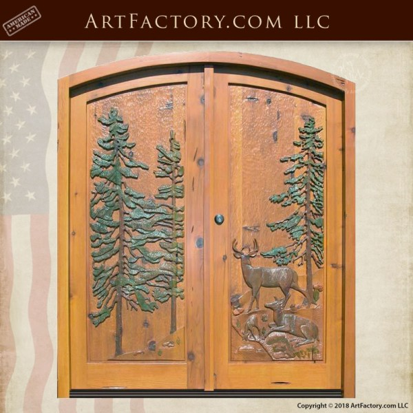 American Wilderness hand carved door