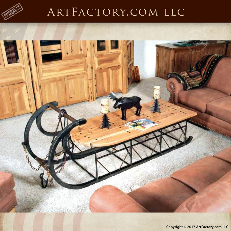 custom sleigh coffee table