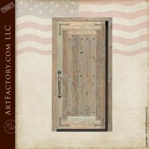 custom handmade wooden door with Knights Templar inspired door pull