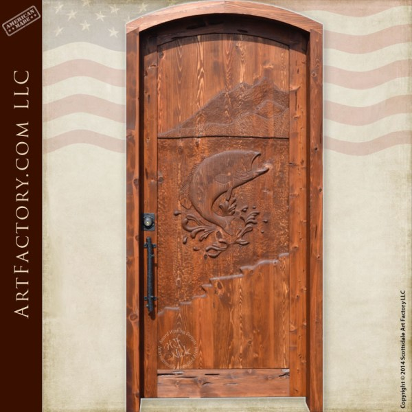hand carved fish door