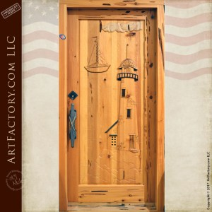 Nautical Hand Carved Door