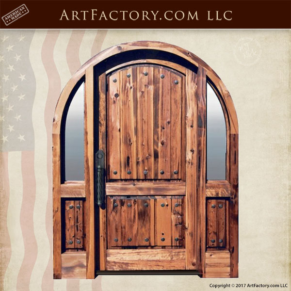 Solid Wood Arched Entry Door With Custom Hardware And Sidelights