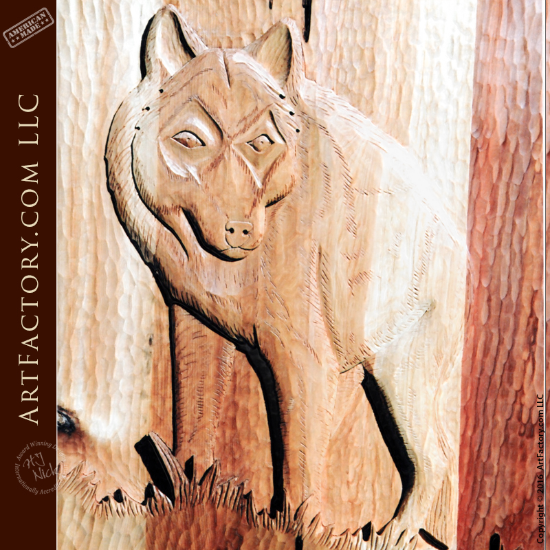 Exterior Doors Custom Made by ArtFactory.com & Wolf Carved Front Door: Custom Themed Hand Carvings