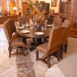 Dining Round Table with Custom Upholstered Chairs