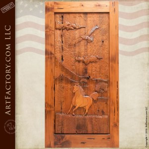 hand carved western style door