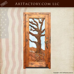 winter oak hand carved door