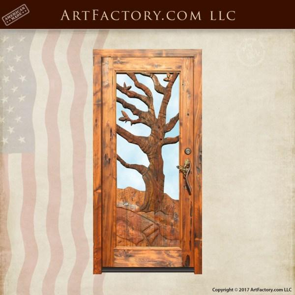 winter oak hand carved door