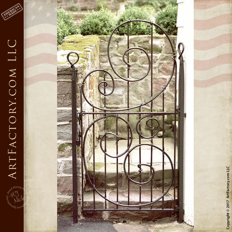 Wrought Iron Side Gate: Master Blacksmith Hand Forged In The
