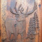 elk theme carved wood door