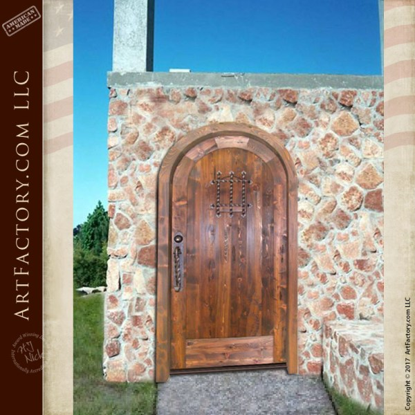 custom arched solid wood door