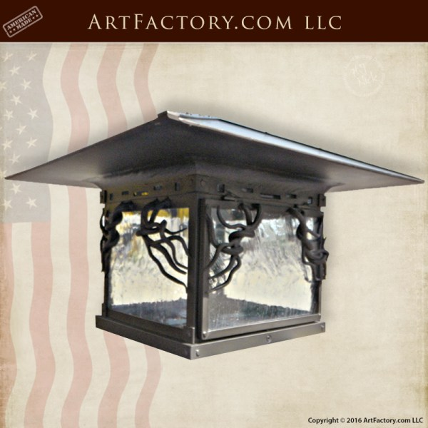 Craftsman Style Post Lanterns Custom Wrought Iron Lighting
