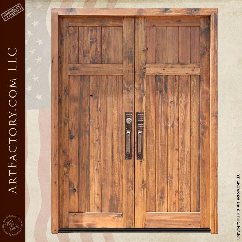 colonial wooden double doors front