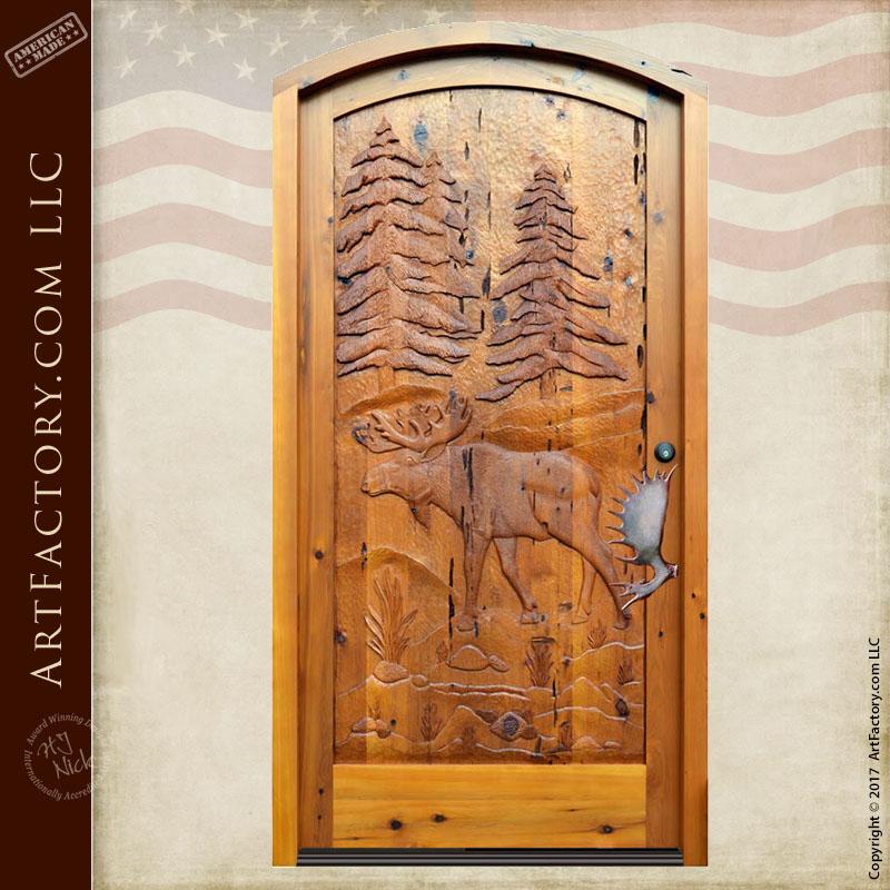 hand carved cabin door