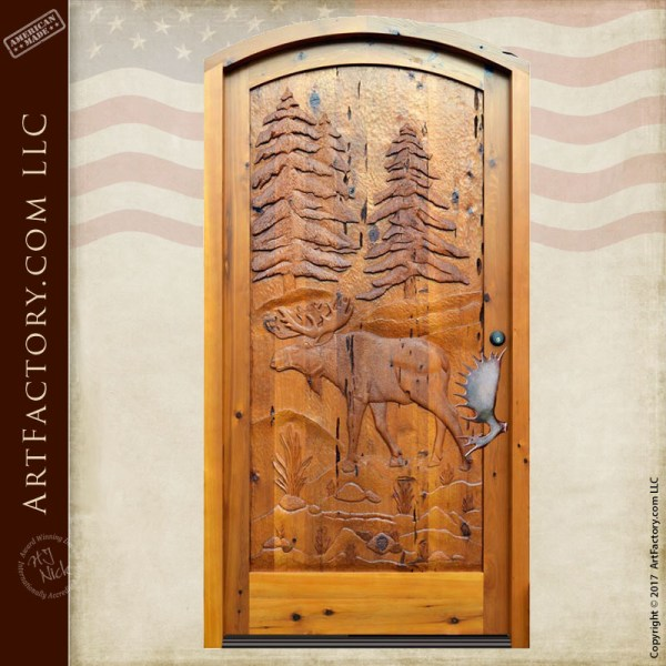 hand carved cabin door