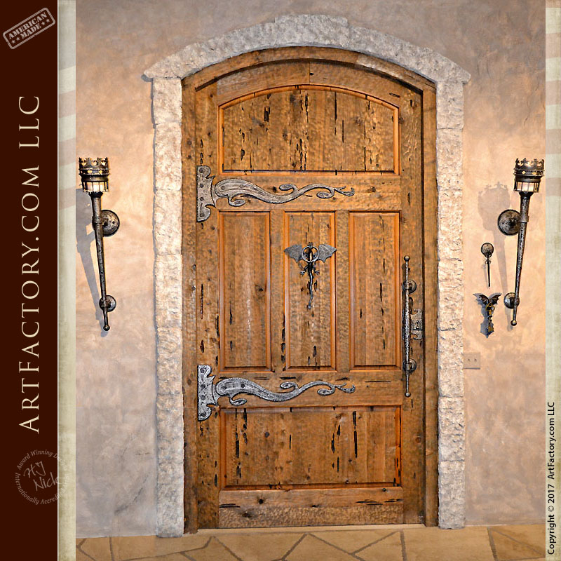 Custom Medieval Castle Door Fine Art Hand Forged Iron Hardware u2013 CED422 & Custom Wood Doors: Hand Hewn Mortise And Tenon Joined