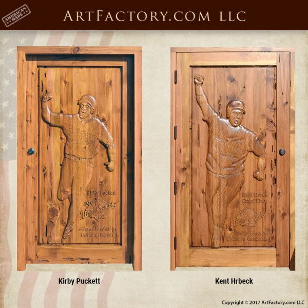 Minnesota Twins Hand Carved Door Man Cave Furniture