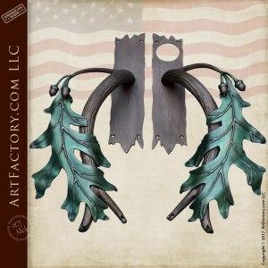 oak branch door handles can be seen on our hand carved cabin entrance door