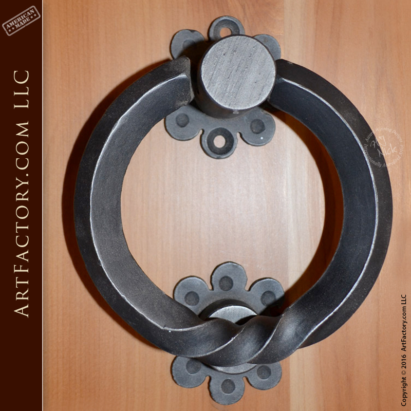 Custom ring door knocker wrought iron door harware for Custom made door knockers