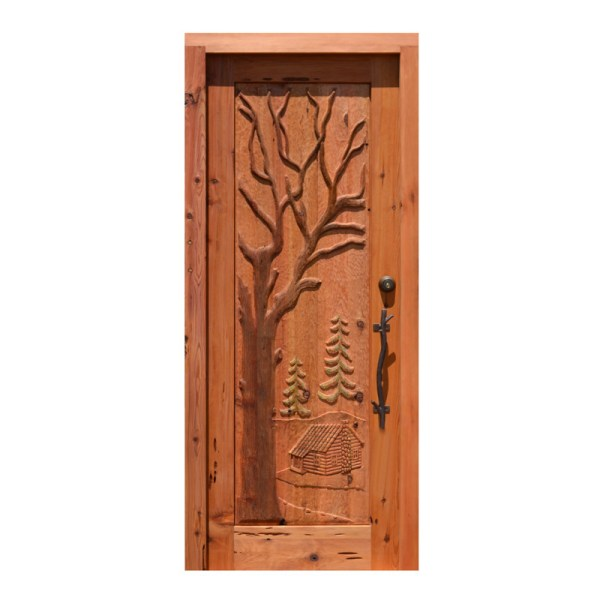 cabin theme wooden lodge door