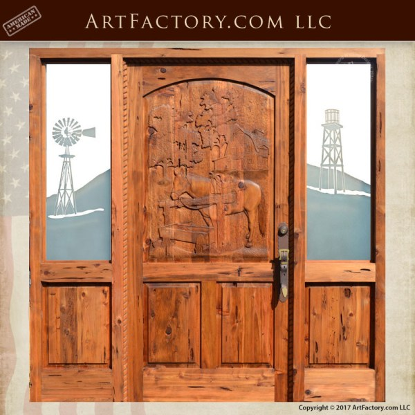 Hand Carved Horse Door Western Style With Decorative