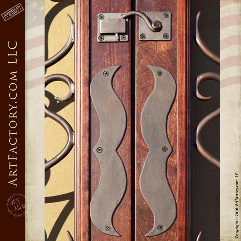 Custom Art Nouveau Hardware: Iron Latch And Push Plates U2013 PP202