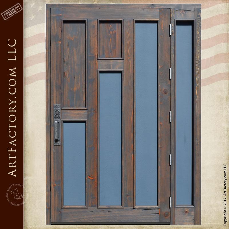Craftsman Entrance Door | Solid Wood Door with Glass Panels