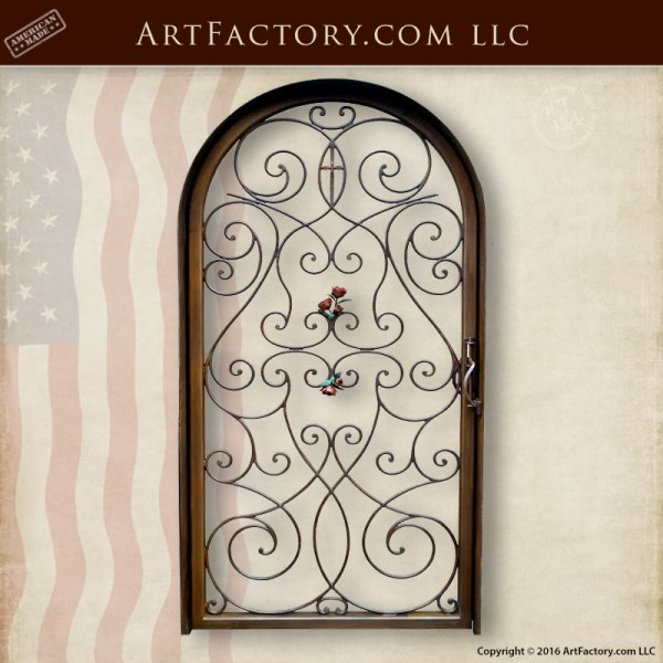 Hand Forged Iron Garden Gate - Custom Scroll And Rose Design