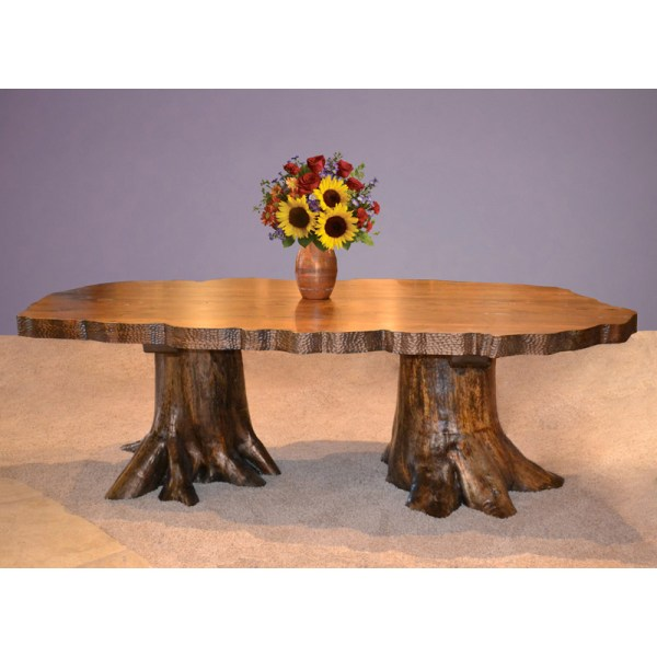 tural Edge Log Base Lodge Dining Table