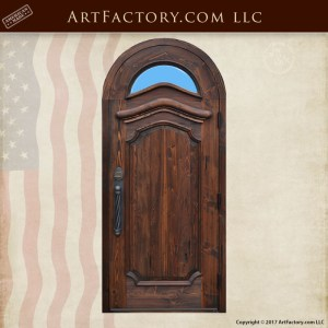 hand carved arched wood door