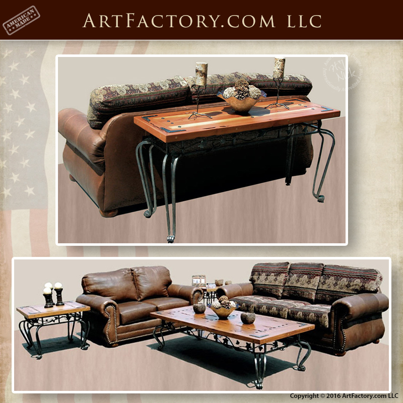 Spanish Misson Door Style Tables - Custom Leather Sofa Living Room Set