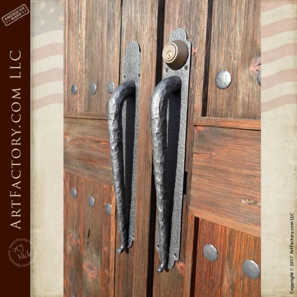 hand hammered iron door puls