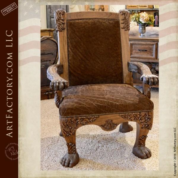 Safari Style Furniture With Hand Carved Lion Safari Chair Hand Carved Lion Safari Chair An Hj Nick Original Fine Art Design