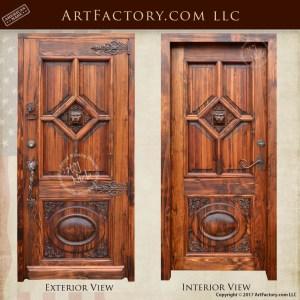 lions head hand carved door
